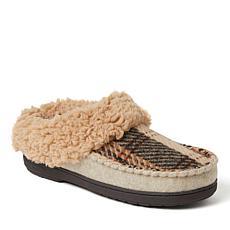 Dearfoams Women's Elaine Blanket Plaid Moc Toe Clog Slipper