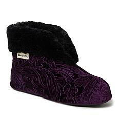 Dearfoams Women's Embossed Luxe Velour Bootie