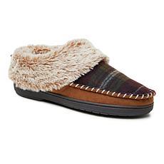 Dearfoams Women's Plaid Moccasin-Toe Clog Slipper