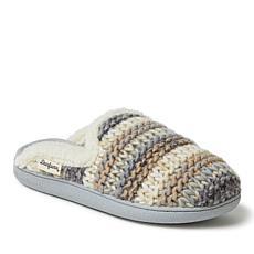 Dearfoams Women's Textured Knit Extended Tab Scuff Slippers