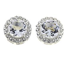 Deb Guyot 7.86ctw Herkimer Quartz and White Topaz Halo Stud Earrings