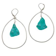 Deb Guyot Studio Sterling Silver Turquoise Slice Drop Earrings