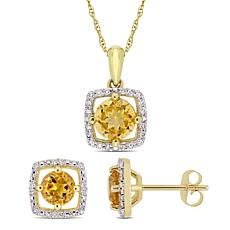 Delmar 10K Gold Citrine and Diamond Pendant Necklace and Earring Set