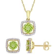 Delmar 10K Gold Peridot and Diamond Pendant Necklace and Earring Set