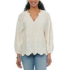Democracy Blouson Embroidered Top