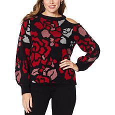 Democracy Cold-Shoulder Rose Jacquard Sweater