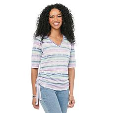 Democracy Elbow Sleeve V-Neck Side Ruched Printed Knit Tee