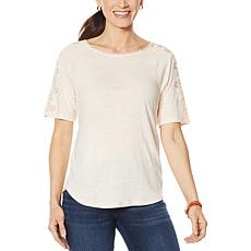 Democracy Embroidered Crochet-Sleeve Top