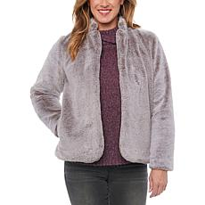 Democracy Faux Fur Jacket with Stand-up Collar