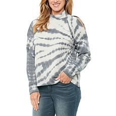 Democracy Long Sleeve One Cold Shoulder Tie Dye Sweatshirt