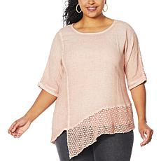 Democracy Mineral Wash Top with Crochet Detail
