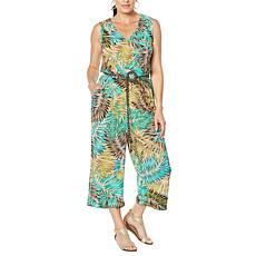 Democracy Printed Belted Crop Jumpsuit