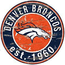 Denver Broncos Round Distressed Sign
