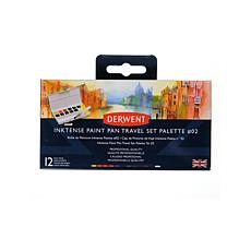 DERWENT Inktense Paint Pan Travel Set Palette #02 - 12 Half Pans