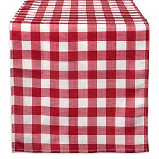 "Design Imports 14"" x 108"" Red Check Outdoor Table Runner"