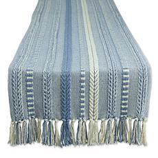 "Design Imports 15"" x 72"" Braided Stripe Fringed Table Runner"