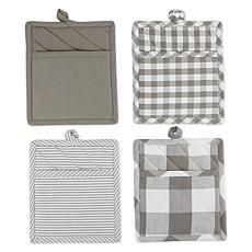 Design Imports 4-piece Assorted Check Potholder Set
