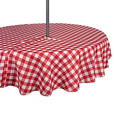 "Design Imports 60"" Red Check Round Outdoor Tablecloth with Zipper"
