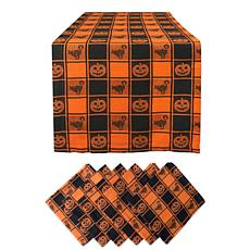 Design Imports 7-Piece Halloween Woven Check Table Set