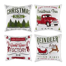 Design Imports Assorted Christmas Print Pillow Covers 18x18 Set of 4