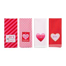 Design Imports Assorted Valentines Embellished Dishtowel Set of 4