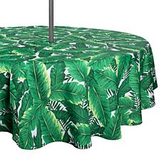 Design Imports Banana Leaf Outdoor Tablecloth with Zipper - 60""