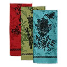 Design Imports Botanical Flowers Kitchen Towel Set of 3