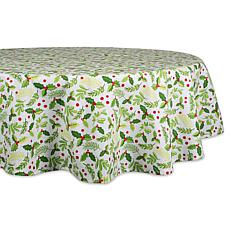 Design Imports Boughs of Holly Print Round Tablecloth 70-inch