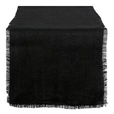Design Imports Burlap Solid 15-inch by 110-inch Table Runner in Black