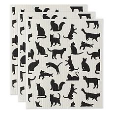 Design Imports Cats Swedish Dishcloths 3-pack