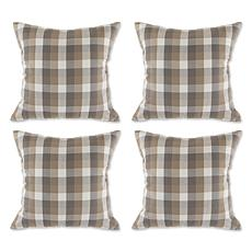 Design Imports Checkered Pillow Covers 18x18 Set of 4