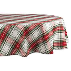 Design Imports Christmas Plaid Tablecloth 70-inch Round