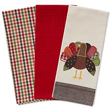 Design Imports Fall Turkey Embroidered Kitchen Towels Set of 3