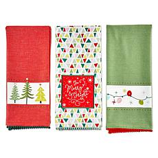 Design Imports Festive Christmas Kitchen Towels Set of 3