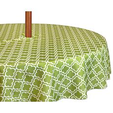 Design Imports Green Lattice Outdoor Round Tablecloth w/Zipper - 60""
