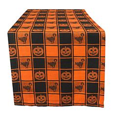 Design Imports Halloween Woven Check Table Runner 14-inch x 72-inch