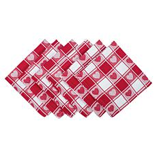 Design Imports Hearts Woven Check Napkin Set of 6