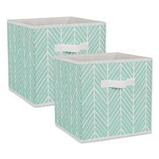 "Design Imports Herringbone 11"" Storage Cube 2-pack"