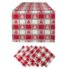 Design Imports Holiday Trees Woven Check Table Set