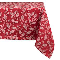 Design Imports Holly Flourish Jacquard Tablecloth 52-inch by 52-inch