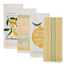 Design Imports Lemon Bliss Embellished Kitchen Towel Set of 4