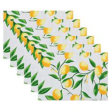 Design Imports Lemon Bliss Print Outdoor Placemat Set of 6