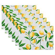 Design Imports Lemon Bliss Print Outdoor Placemat Set of 6