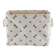 Design Imports Polyester Rectangle Pet Bin Paws & Bones Medium