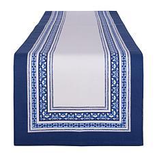 "Design Imports Porto Stripe Print Table Runner 14"" x 72"""