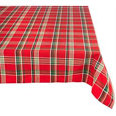 "Design Imports Red Plaid Holiday Tablecloth 60"" x 84"""