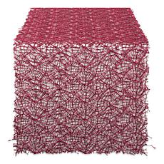 "Design Imports Red Sequin Mesh Table Runner Roll - 16"" x 10'"