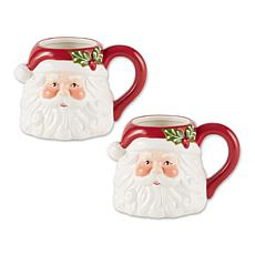 Design Imports Set of 2 Santa Ceramic Mugs