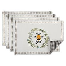 Design Imports Set of 4 Bee Kind Placemats