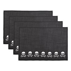 Design Imports Skulls and Crossbones Embroidered Placemat Set of 4
